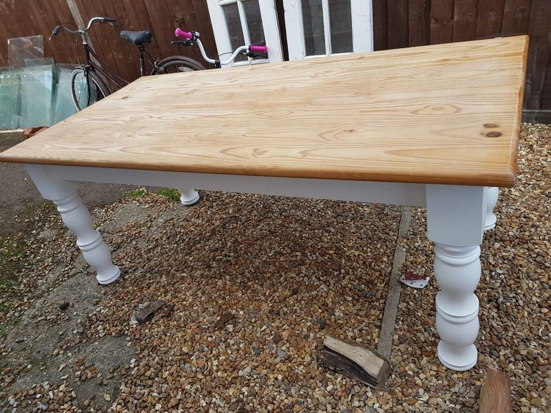 Heavy Large Country Pine Dining Kitchen Table Extra Wide White Painted Legs Forest Green Products Vinterior