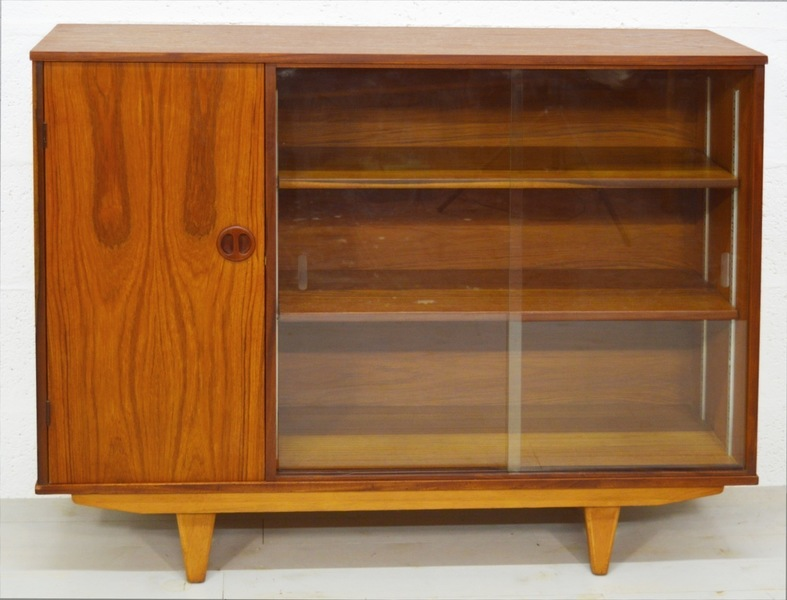 Mid Century Vintage Teak 1960's Glass Cabinet/Bookcase