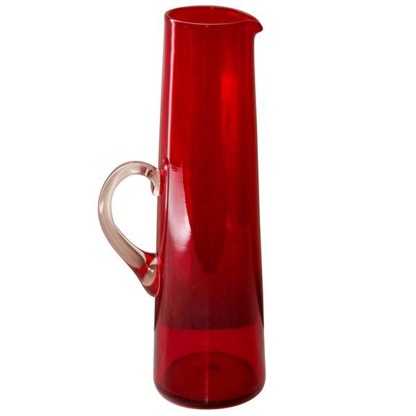 Swedish Midcentury Red Glass Jug By Monica Bratt For Reijmyre