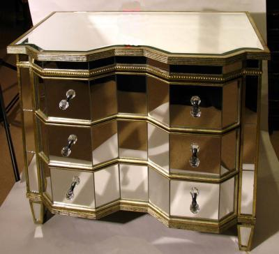 Stunning Serpentine Art Deco Mirrored Commode Chest photo 1