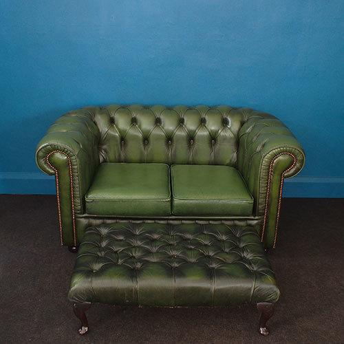 Green Chesterfield Set – Sofa & Footstool