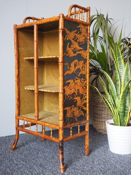 Victorian Oriental Bamboo Bookcase / Display Shelf Intricate Paper Pattern