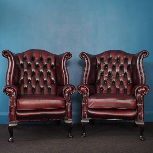 Pair Vintage Oxblood Chesterfield Wingback Chairs