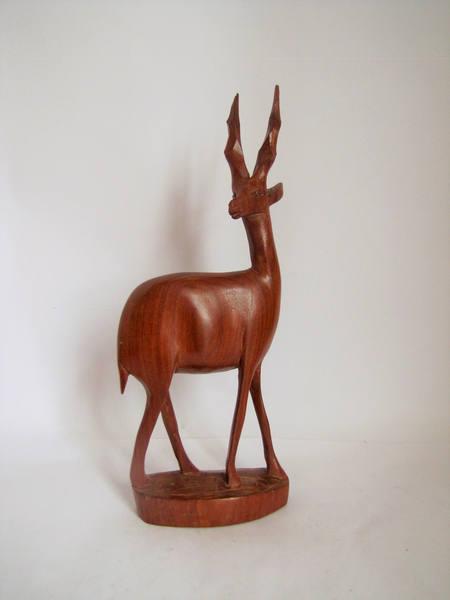 Vintage Wooden Antelope Deer Figurine, Mid Century, African Hand Carved Animal Figure