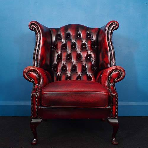 Vintage Oxblood Wingback Chesterfield