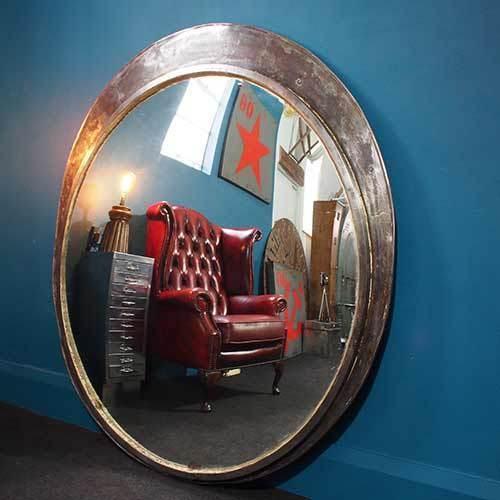 Large Vintage Convex Station Mirror