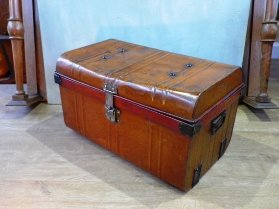 Antique Tin Travel Trunk Steamer Chest Tin Chest Trunk Victorian Storage Coffee Table