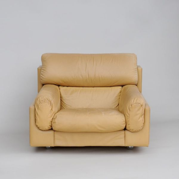 Large 1960s Leather Armchair