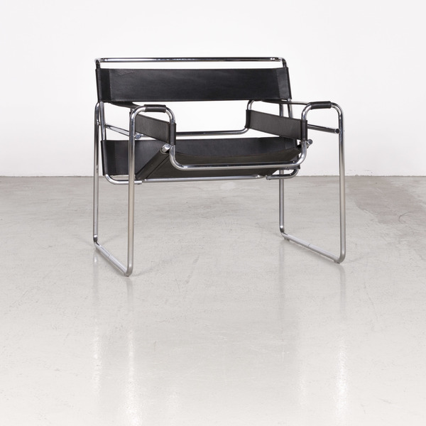 Knoll International Wassily Designer Leather Armchair Black By Marcel Breuer Real Leather Chair