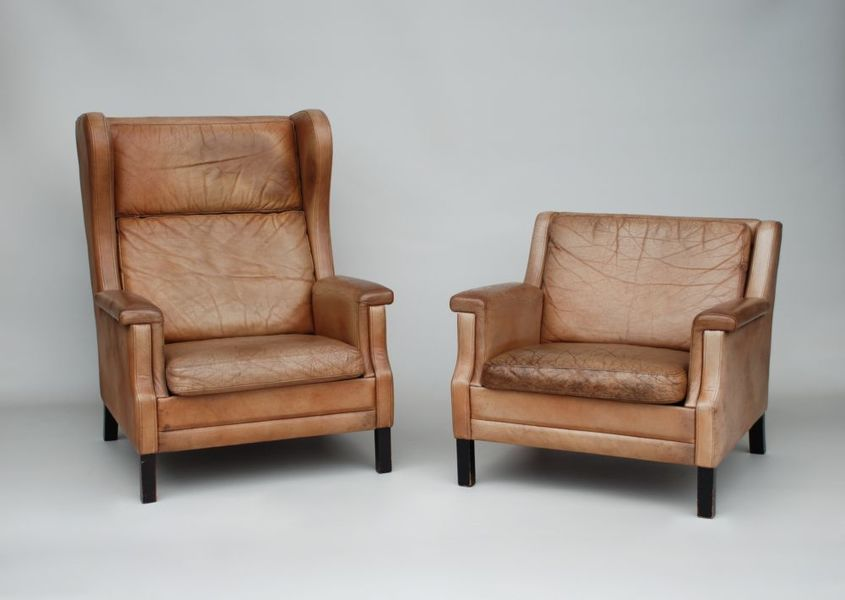 Danish Leather Armchairs, Mogensen Style photo 1