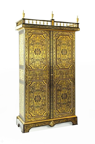 Antique French Cut Brass Inlaid Cabinet Wardrobe C.1910 photo 1