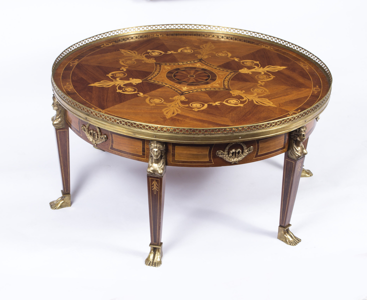 Vintage French Empire Style Marquetry Coffee Table C1970 photo 1