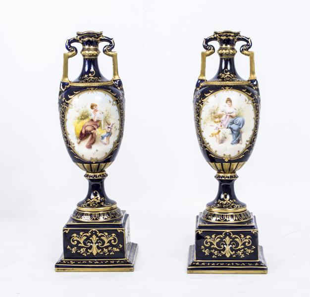Antique Pair Vienna Porcelain Royal Blue Vases C1900