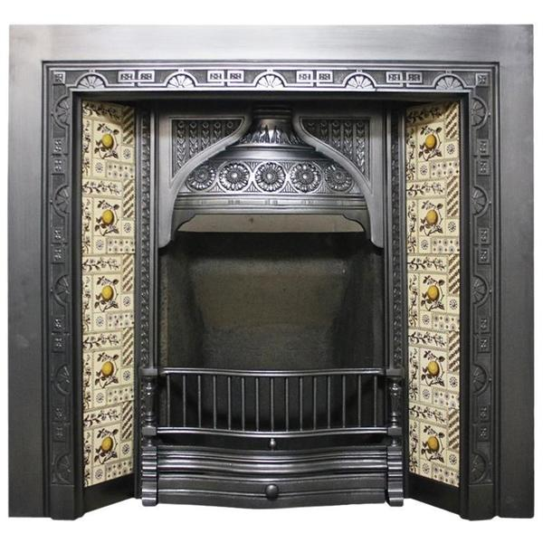 Large Restored Antique Victorian Cast Iron And Tiled Fireplace Grate
