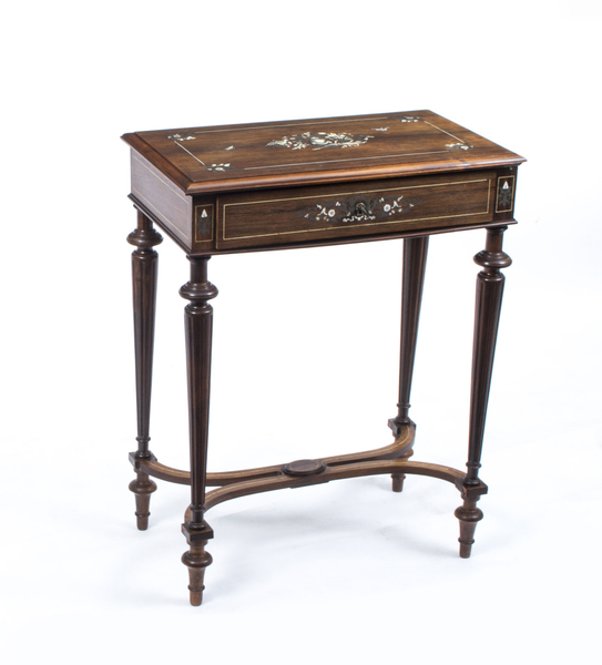Antique French Rosewood Inlaid Dressing Work Table C1870