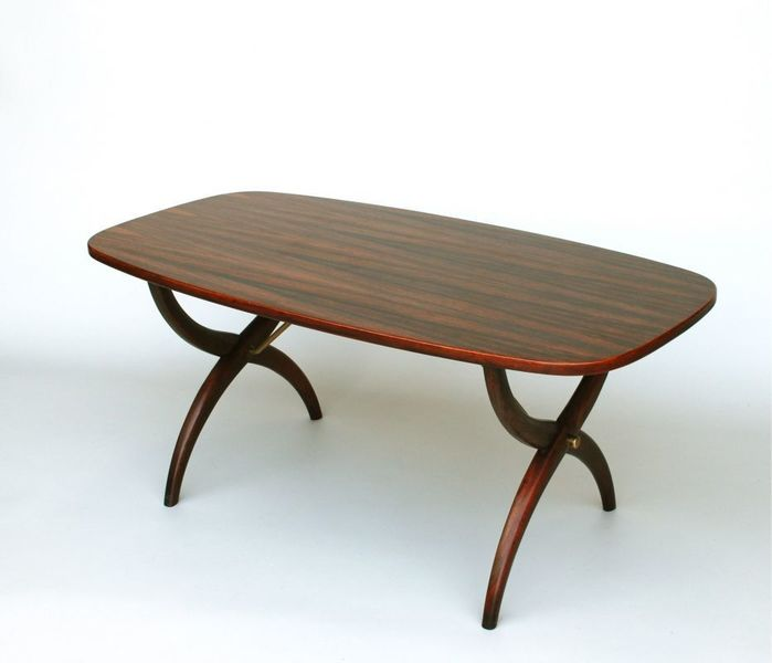 Coffee Table In Rosewood With X Frame Legs