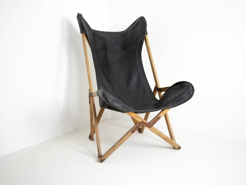 Original Tripolina Campaign Furniture Folding Chair By Joseph B. Fendy