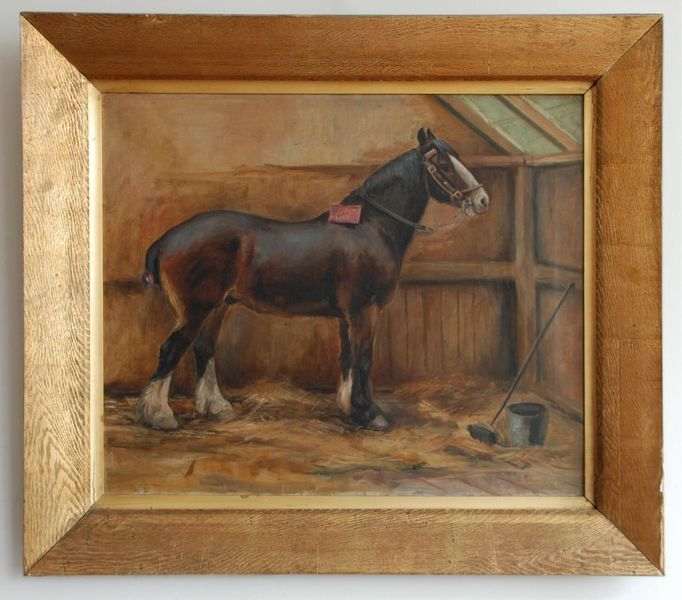 19th Century Painting, Horse In A Stable By May Burton photo 1