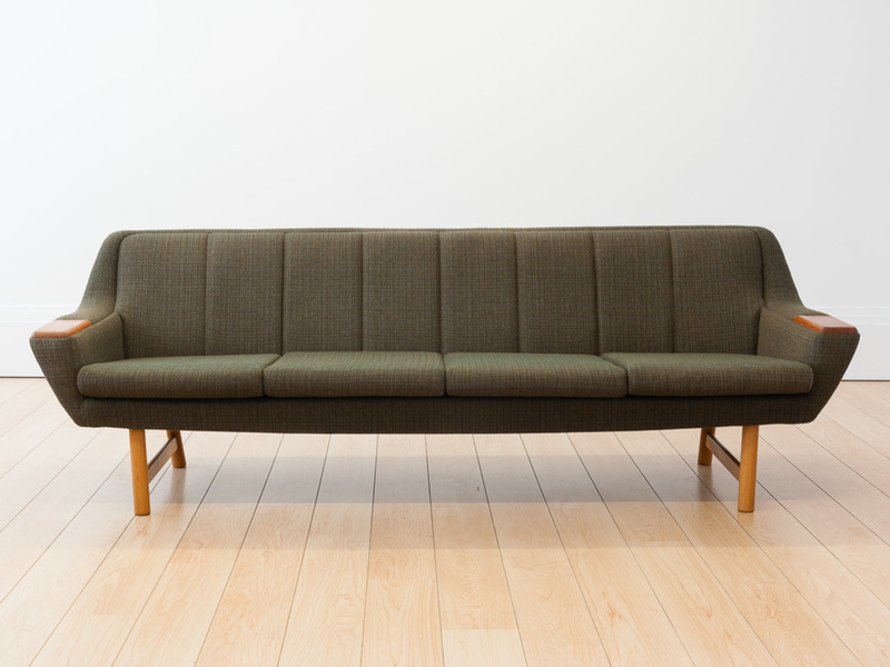 Norwegian Green Tweed & Teak 4 Seater Sofa
