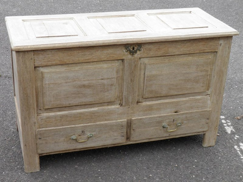 18th Century Bleached Oak Mule Chest Coffer photo 1