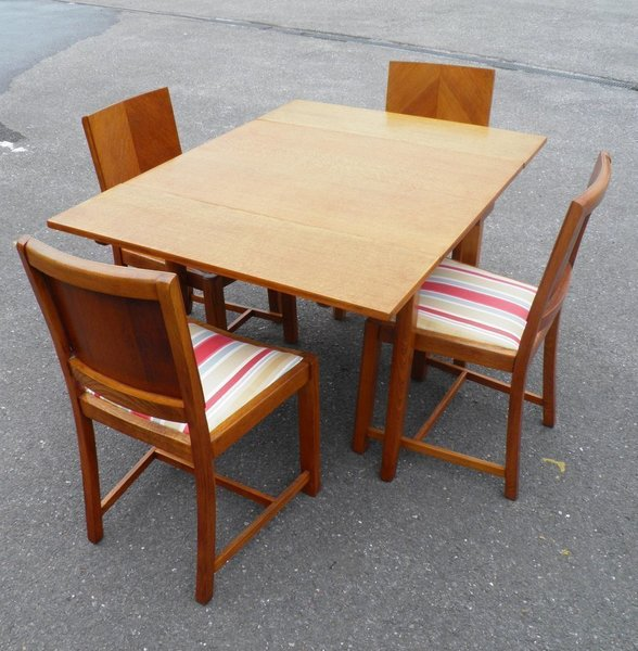 Art Deco Style Dining Table And 4 Chairs