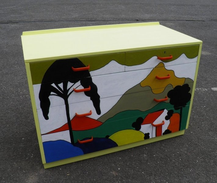 Retro Chest With Clarice Cliff Hand Painted Decoration photo 1