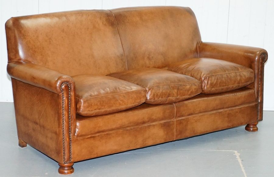 Tetrad Prince Three Seater Brown Leather Sofa Feather Filled Cushions