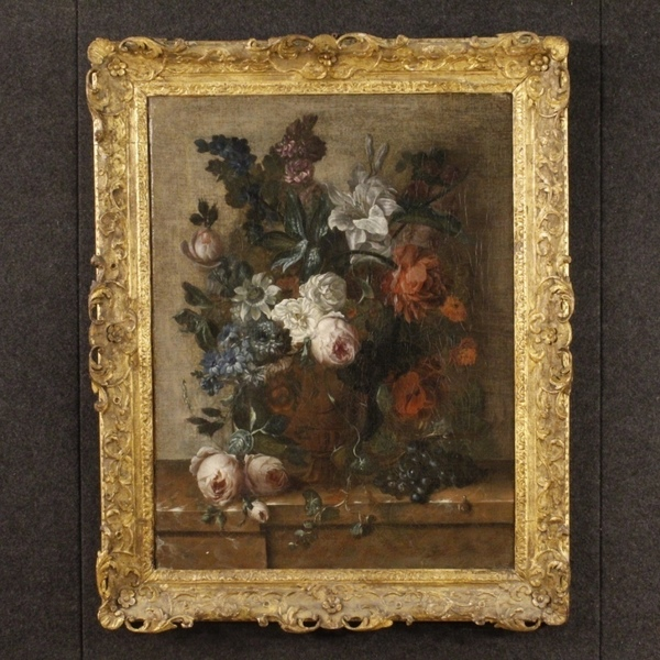 Antique Flemish Still Life Painting From 18th Century