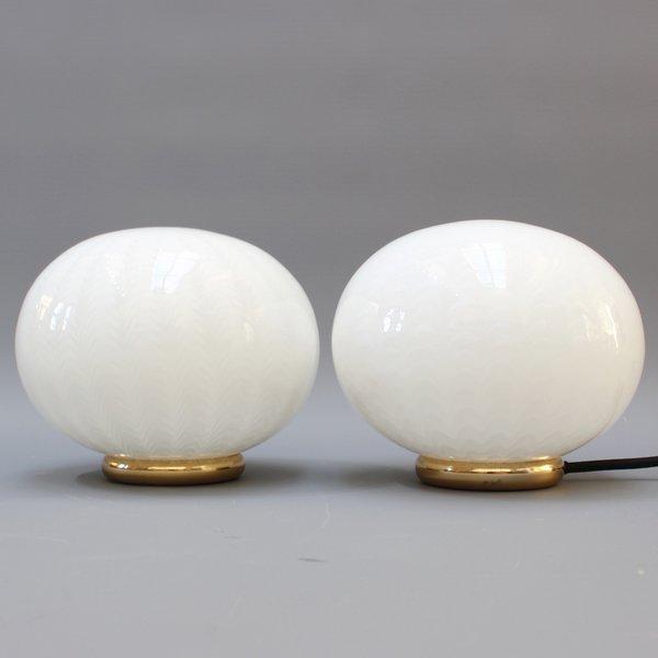 Pair Of Italian Murano Glass Globe Table Lamps (Circa 1970s)