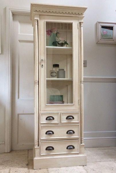 Vintage Painted Glass Glazed Display Cabinet Bookcase Kitchen Cabinet Shop