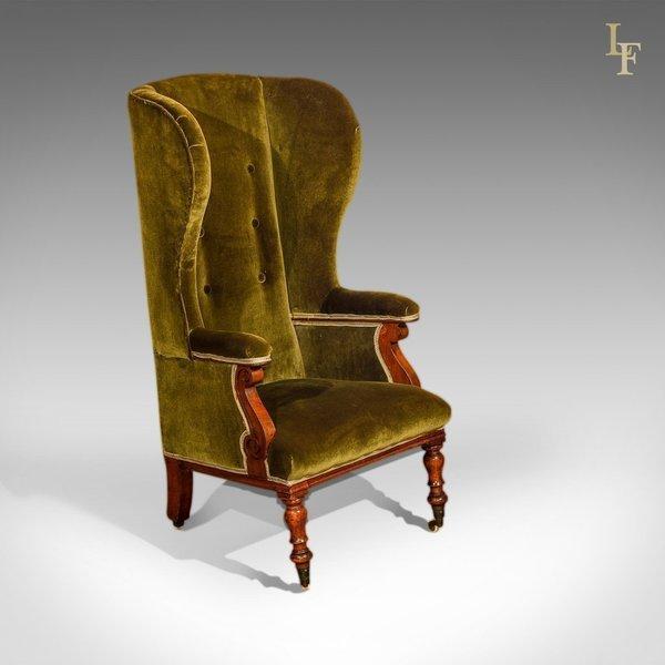 Victorian Wing Back Chair, Green Velvet C.1850 photo 1
