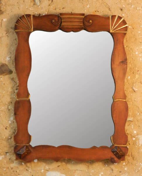 Deco Wood & Gilt Mirror photo 1
