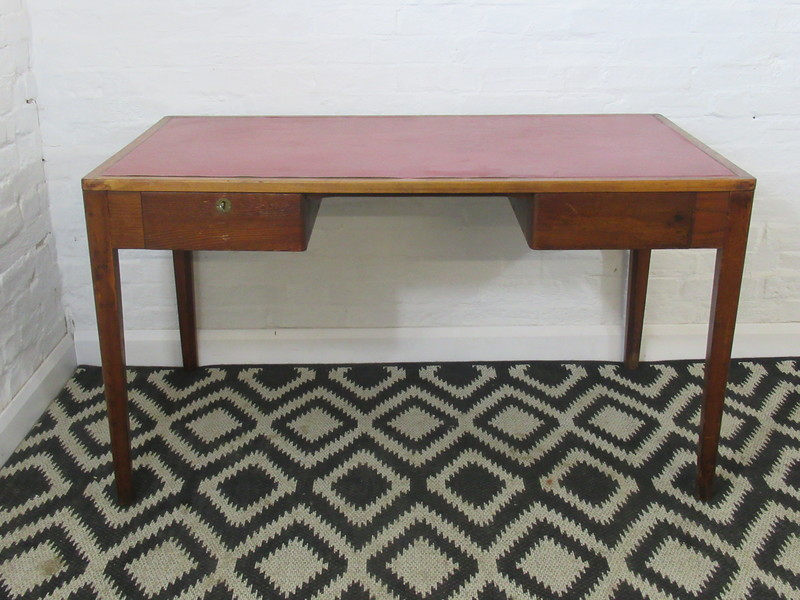 Vintage Mid Century Dark Oak Double Drawer Desk With Key And Red Rexine Surface