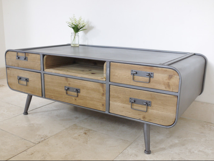 Retro / Industrial Dutch Style Coffee Table With Drawers & Storage
