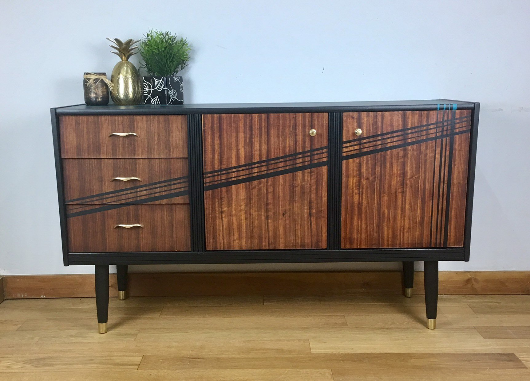 Midcentury Upcycled Sideboard Retro Sideboard Retro Living Room Furniture Hand Painted Furniture Vinterior