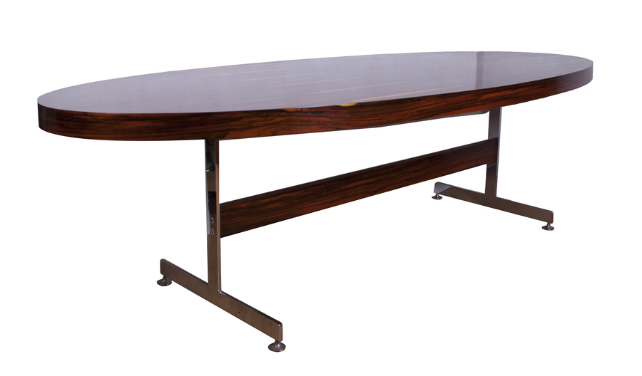 Rare Merrow Associates Rosewood And Chrome Conference Table