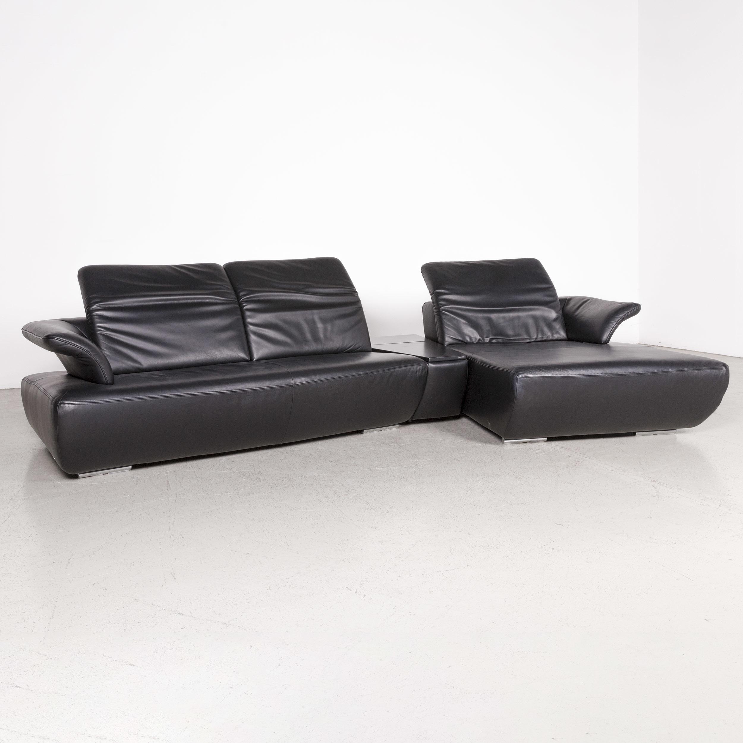 Koinor Avanti Designer Leather Corner Sofa Black Genuine