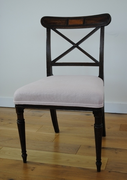 Georgian (George Iii) Mahogany Occasional Chair Upholstered In A Soft Pink Linen From Designers Guild