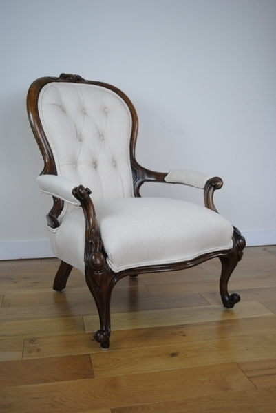 Mid Victorian Walnut Button Back Armchair In Cream Linen From Voyage