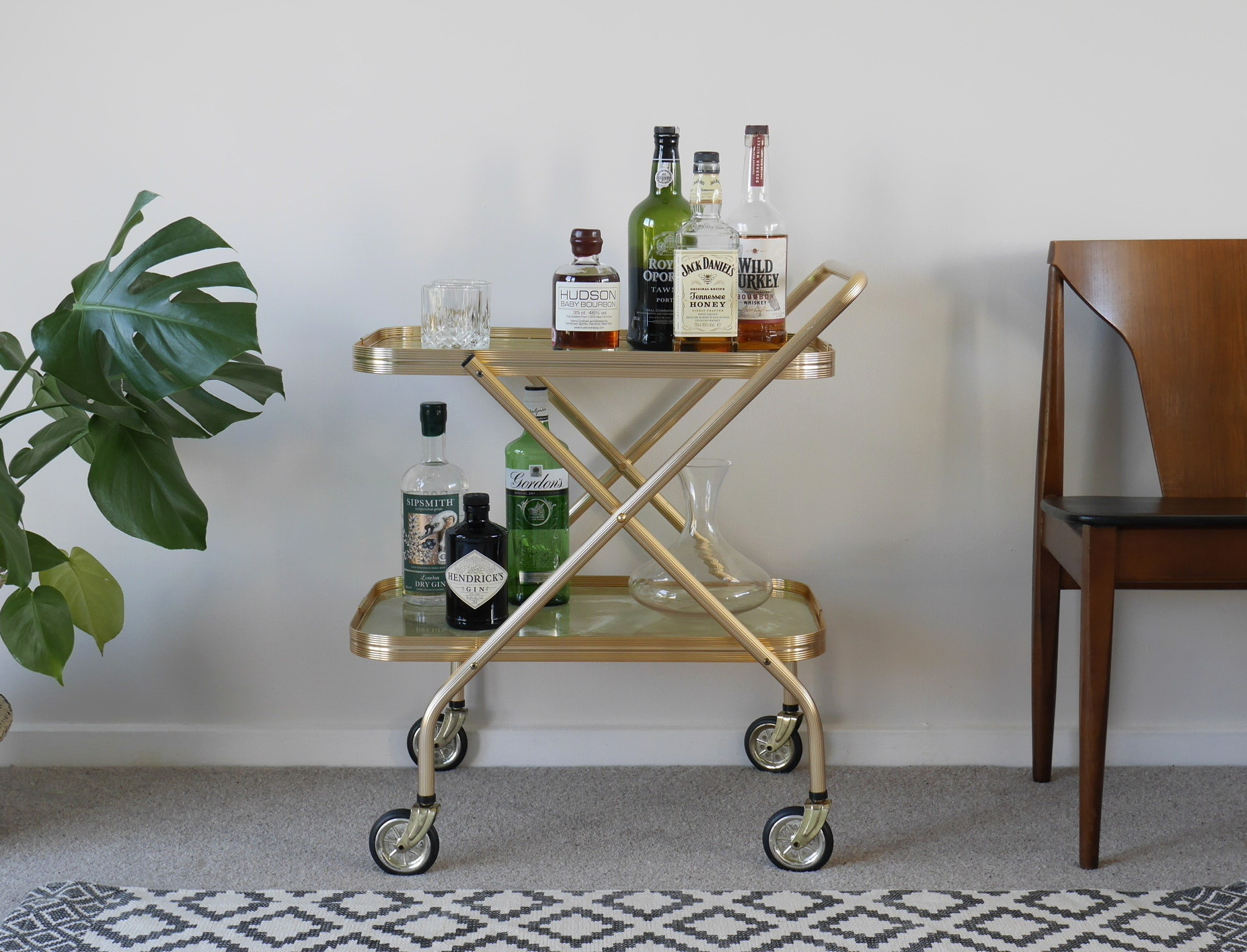 Gold Bar Cart, Folding Vintage Drinks Trolley With Marble Trays