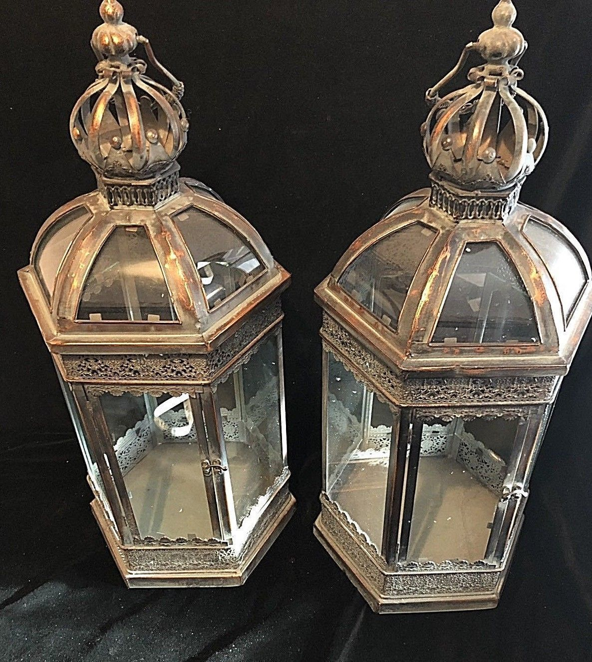 Pair Large Lanterns Candle Holder Indoor Outdoor French Antique Vintage Style Vinterior