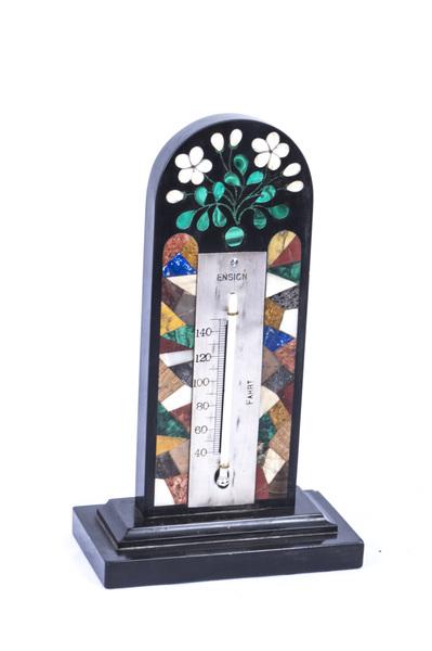 Antique Pietra Dura Marble Malachite Thermometer C.1880