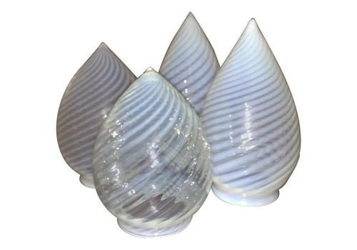 A Pair Of Arts And Crafts Teardrop Swirl Vaseline Shades.