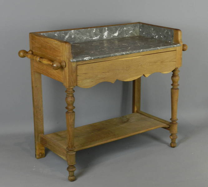 French Grey & White Marble Top Washstand photo 1