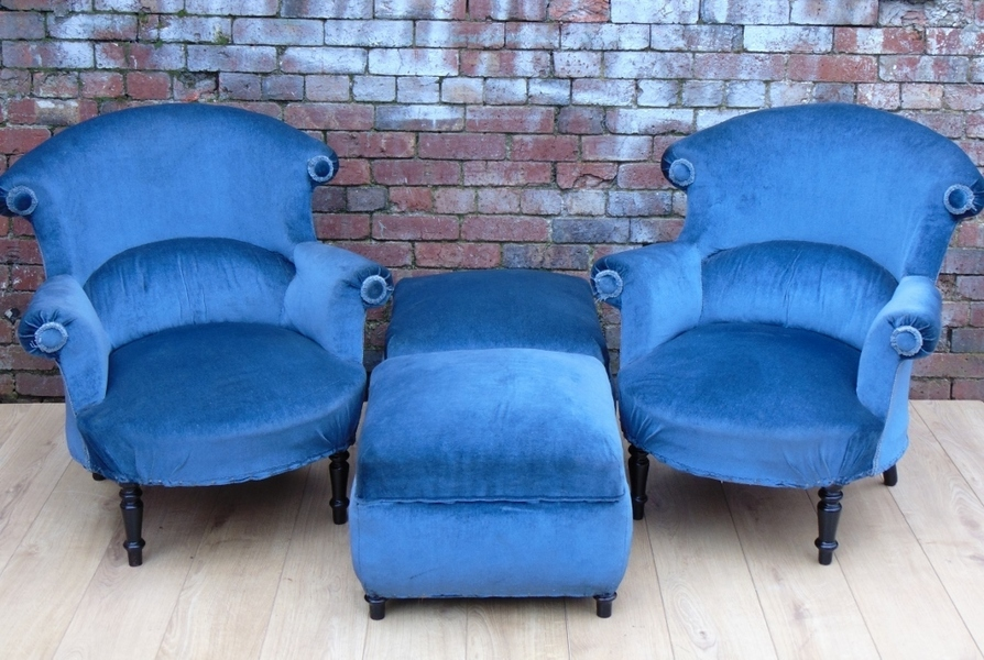 Pair 19c French Armchairs And Matching Stools