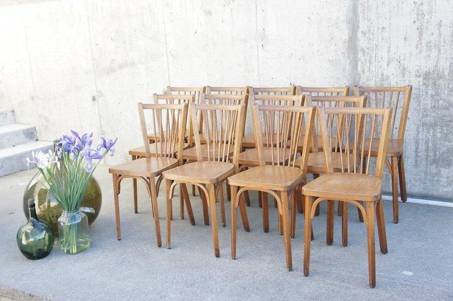 Set Of 13 Wooden Model 82 Baumann Bistro Chairs