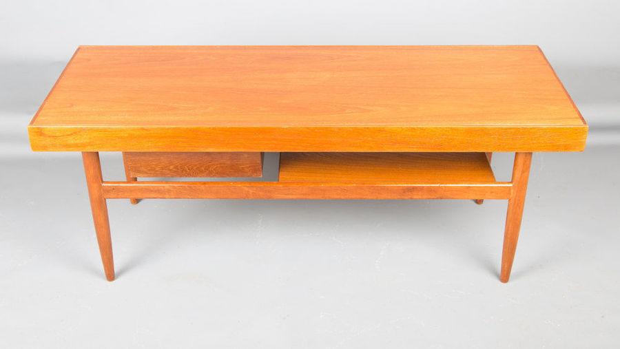 Coffee Table With Sliding Top Storage.Retro Teak Coffee Table With Sliding Top And Pullout Storage Box Vintage 1960 S