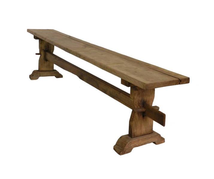 Rustic French Oak Bench photo 1
