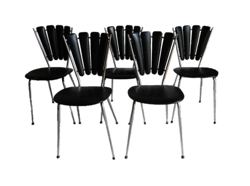 Set Of 5 French Black & Chrome Diner Chairs
