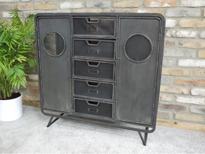 Distressed Metal Retro Industrial Cabinet Or Sideboard With Drawers